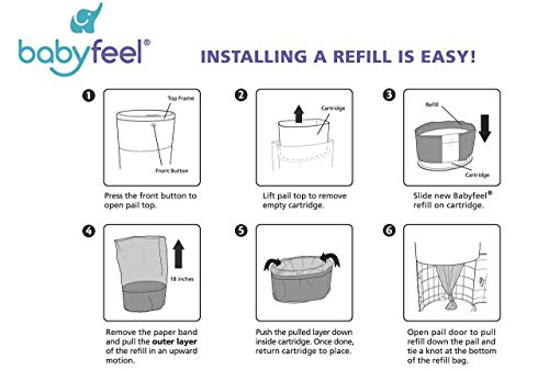 Babyfeel - 4 Pack Refill - Fits All Dekor Plus Diaper Pails - Holds Up To 2320 Diapers - Powerful Odor Elimination - Strong And Durable