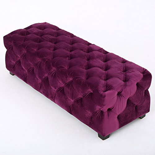 Provence Purple Tufted Velvet Fabric Rectangle Ottoman Bench - Fabric Bench