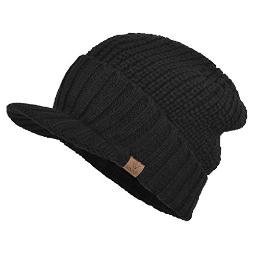 Janey&Rubbins Men's Stylish Knit Visor Brim Beanie Hats Fleece Lined Skull Ski Caps (Black)