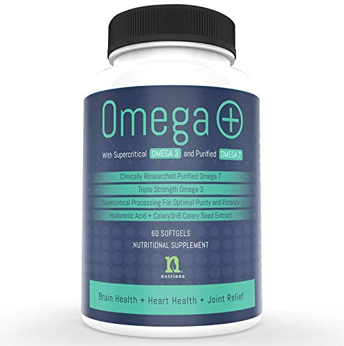 Omega Fish Oil Pills | Over 1200 mg Premium Omega 3 Fish Oil Pills | 420 mg Omega 7 Supplement 1000 mg EPA and DHA | Pure Burpless Odorless Capsules | Heart and Brain Health | Joint Pain | Fatty Oils