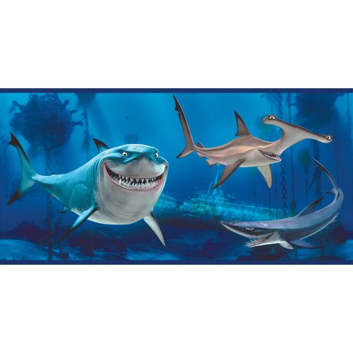 Imperial Disney Home DF059231B Finding Nemo Shark Border, Blue, 10.25-Inch Wide