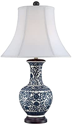 Windom Long Neck Blue and White Ceramic Table Lamp