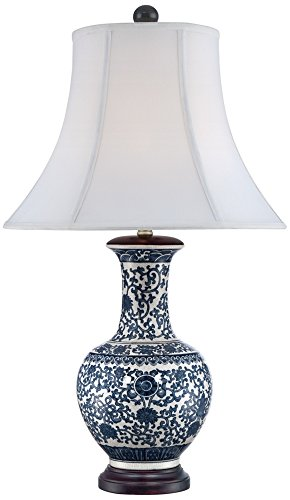 Windom Long Neck Blue and White Ceramic Table Lamp ()