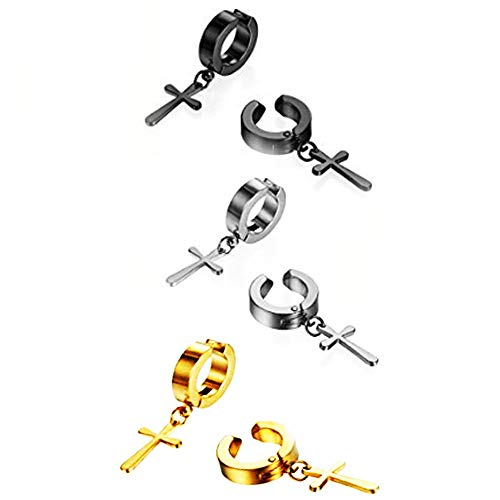 Fashionsupermarket 3 Pairs Stainless Steel No Piercing Cross Hoop Dangle Earrings for Men Women,Hypoallergenic