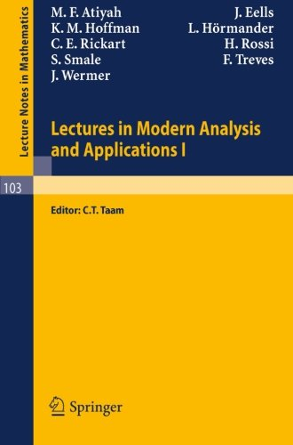 Lectures in Modern Analysis and Applications I (Lecture Notes in Mathematics)