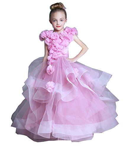 Kelaixiang Pink Formal Princess Ball Gown Flower Girls Dress (5) by Kelaixiang