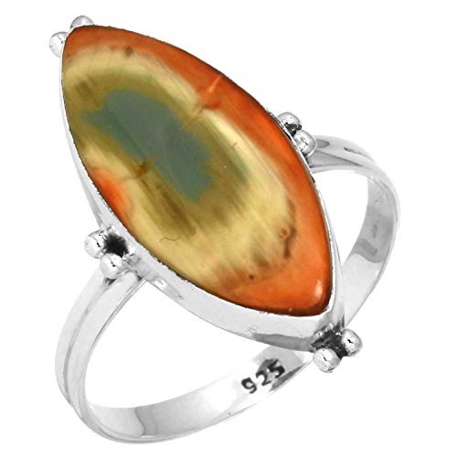 Natural Royal Imperial Jasper (Mexico) Ring Solid 925 Sterling Silver Handmade Jewelry Size 12.5