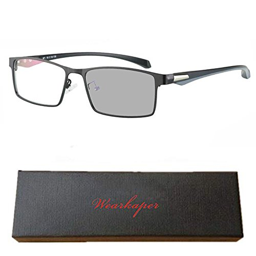 WEARKAPER Full Frame Sun Photochromic Myopia Eyeglasses Finished Men Women Prescription Glasses -1.0-4.0 (-3.00, Black)