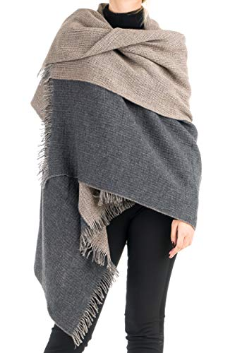Angiola Made In Italy - Women's Winter Double Faced 100% Virgin Wool Scarf 100% Made In Italy - Soft, Warm (Beige, Anthrax) Double Faced Wool Fabric