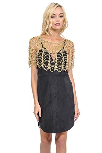 Lydia USA Sexy Metallic Beaded Web Styles Shawl Crochet Poncho Short Cape Flapper Top (Free, Nude-Gold) ()