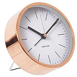 Alarm Clock Minimal Karlsson Copper White Silent Movement