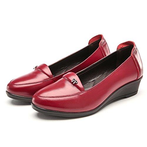 La boca baja con los zapatos de cuero/zapatos antideslizantes inferiores suaves de la primavera/ pendiente redondo con un solo zapato de cuero B