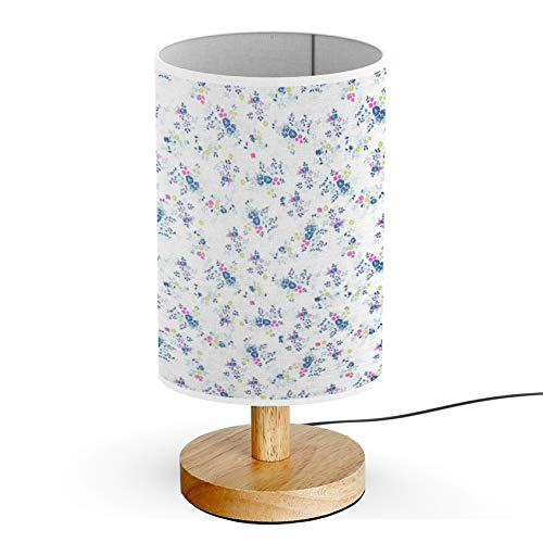 ARTSYLAMP - Wood Base Decoration Desk Table Bedside Light Lamp [ Cute Ditsy Roses Fashion ]