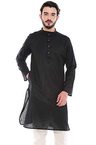In-Sattva Men's Indian Classic Textured Pure Cotton Kurta Tunic with Band Collar; Black; LG