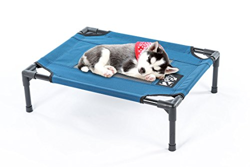 Elevated Pet Cot by 2PET - Deluxe Cooling Elevated Dog Bed - Dog Cot that Provides Maximum Comfort - Good Sleep - Joints Support & Insect Relief– All Seasons. Small Blue - Model EPB06