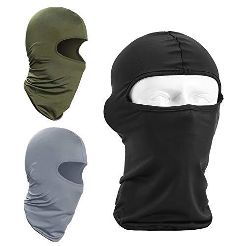 YAVO-EU Fietsmasker, lycra, bivakmuts, 3 stuks, uniseks, motormasker, wandelen, sport, outdoor, fietsen, licht