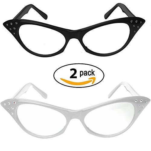 [Cat Eye Glasses with Rhinestones - 50's 60's Retro glasses (2 Pack) (Black & White Cat Eye Glasses)] (White Cat Costume For Women)