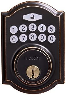 Hickory Hardware HH075772-ABZ 2-11 16 Wx6-27 32 Hx7 8 D-Grade 3 Key Pad Electronic Keypad Deadbolt, Aged Bronze Finish, 3-1 4 x6-27 32 x2-1 4 ,