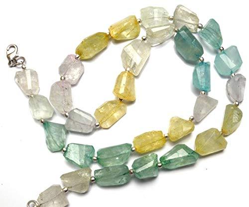 KALISA GEMS Beads Gemstone 1 Strand Natural Aquamarine Facet Nugget Beads 20