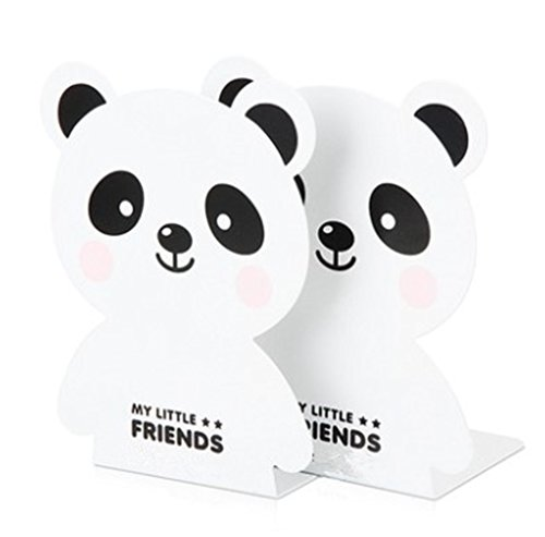 Kids Panda Metal Bookends for Nursery Shelves Girls Present - White by HYNKAM