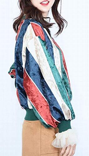 Invierno Cuello Bloques Color 1 Mujeres Con Las Holgados De Flojo Sudaderas Suéter Lejorce Redondo wHUxSpAf