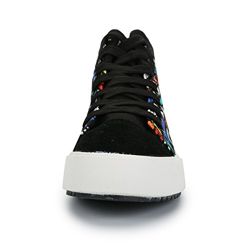 Women's Leroy Top Canvas Graffiti Black Lace Fashion up Alexis Shoes High Sneakers 45x4w