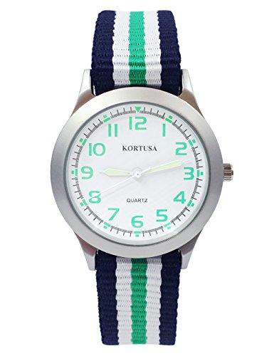 Kids Luminous Military Nylon Wrist Watch Boys Girls Waterproof Analog Quartz Watch with Adjustable Nylon Strap (Blue White