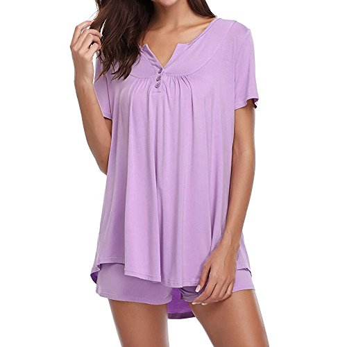 Nadition Women Sleepwear Clearance  Casual Button Short Slee