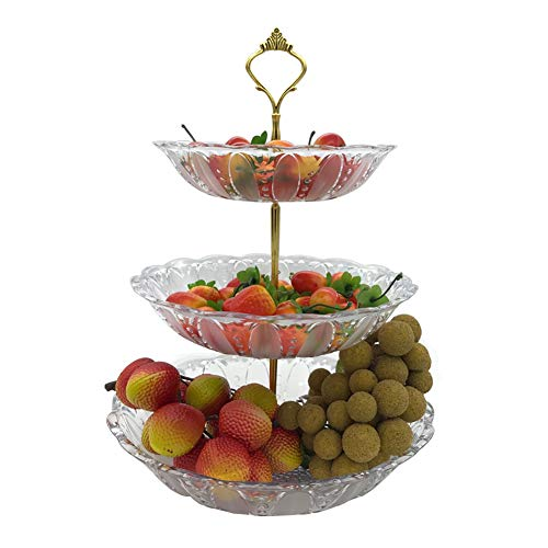 (3 Tier Cake Stand and Fruit Plate Cupcake Clear Plastic Stand White for Cakes Desserts Fruits Candy Buffet Stand for Wedding & Home & Birthday Party Serving)