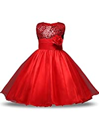 Oukaiyi Baby Girl Flower Sequin Princess Tutu Tulle Baby Party Dress