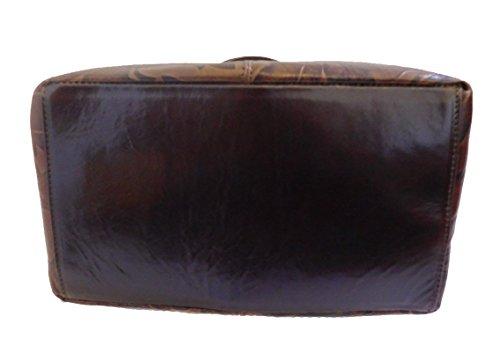 Borsa a spalla in vera pelle stampata colore testa di moro