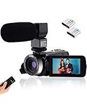 Video Camcorder Full HD 1080P Vlogging Camera 24MP 16X Digital Zoom 3.0'' LCD 270 Degree Rotation Screen with External Microphone Remote Control
