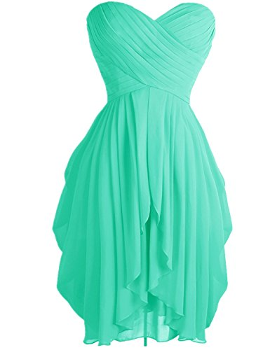 FEESHOW Junior's Party Chiffon Dresses Strapless Sweetheart Lace Up Back Dresses Prom Homecoming Dresses Turquoise 4