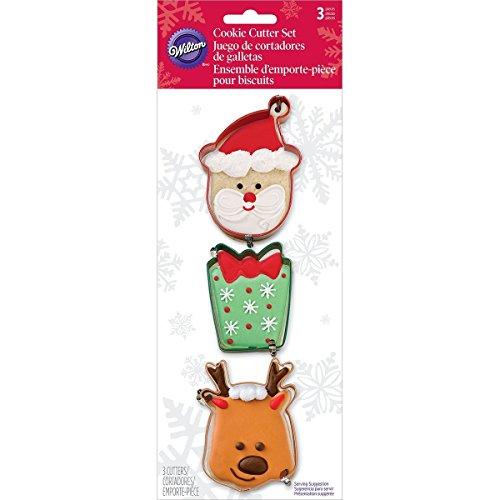 Wilton 3 Piece Holiday Metal Cookie Cutter Set (Santa, Present & (Santa Cookie Cutter)