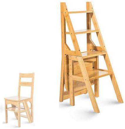 HJJH Escalera Plegable Silla de Cuatro Capas, multifunción Sillas de Escalera nórdica de Cuatro Capas, Escaleras de Silla Escalera de Madera Maciza Escalera de Taburete de múltiples Capas: Amazon.es: Hogar