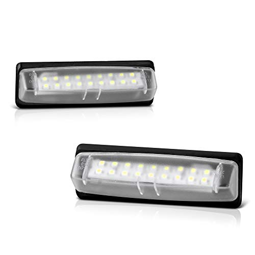 VIPMOTOZ Full LED License Plate Light Lamp Assembly Replacement For Toyota Camry Sienna Prius Echo Yaris Sedan Lexus IS ES GS LS RX HS250h - 6000K Diamond White, 2-Pieces