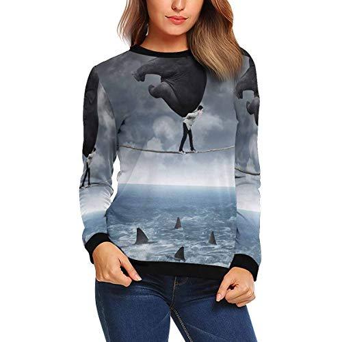 InterestPrint Women's Risky Business Young Asian Man Elephant Rope Shark Crewneck Sweatshirt Pullover Tops XS for $<!--$34.99-->