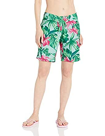 Kanu Surf Women's Hayley UPF 50+ Active Printed Swim and Workout Board Short, Green, 6