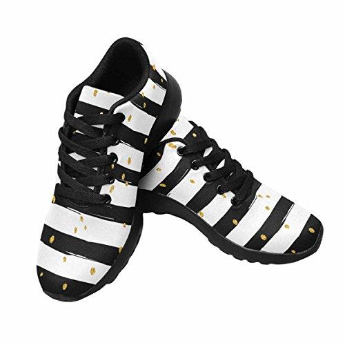 Scarpa Da Jogging Leggera Da Donna Running Jogging Leggera Andare Facile Camminare Comfort Sport Scarpe Da Corsa Coriandoli Scintillanti Doro Su Sfondo Striscia Multi 1