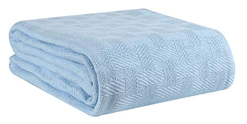 Glamburg 100% Cotton Bed Blanket, Breathable Bed Blanket Queen Size, Cotton Thermal Blankets Full - Queen Size, Perfect for Layering Any Bed for All Season - Sky Blue