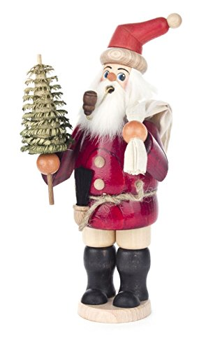 Santa Claus with Bag and Tree German Wood Christmas Incense Smoker 10 Inch by Pinnacle Peak Trading Company