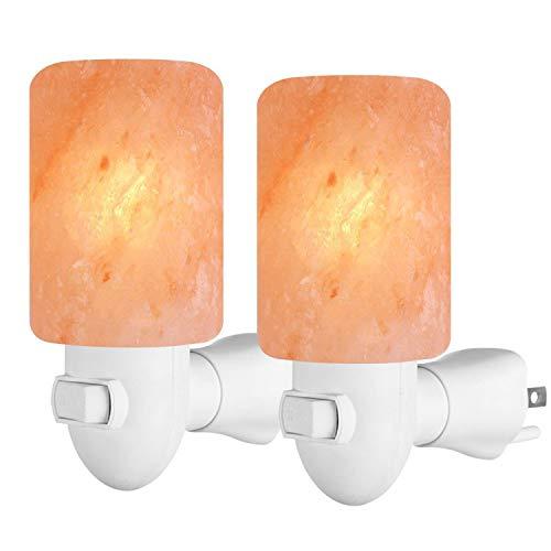 Arvidsson Himalayan Salt Lamp, Salt Lamp Night Light with 4 Bulbs, Natural Crystal Salt Light with ETL Approved Wall Plug for Lighting & Air Purifying -2 Pack