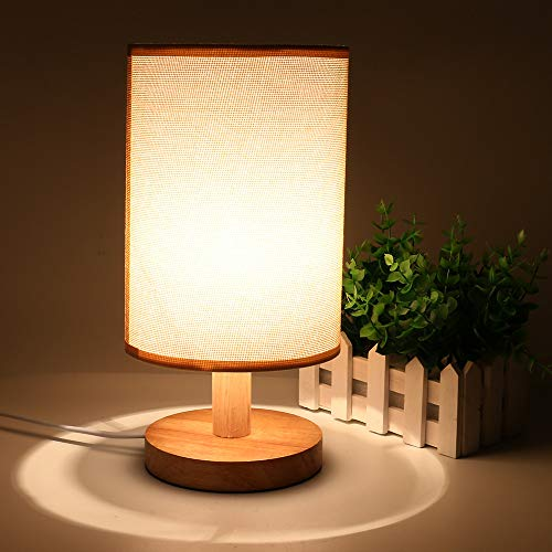 Table Desk Bedside Lamp with Lamp Shade Head Nightstand Wood Lamp Flaxen Fabric for Bedroom Office ()