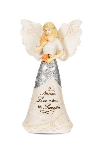 Pavilion Gift Company Elements 82327 Angel Figurine Holding Flowers, Nana, 6-1/2-Inch