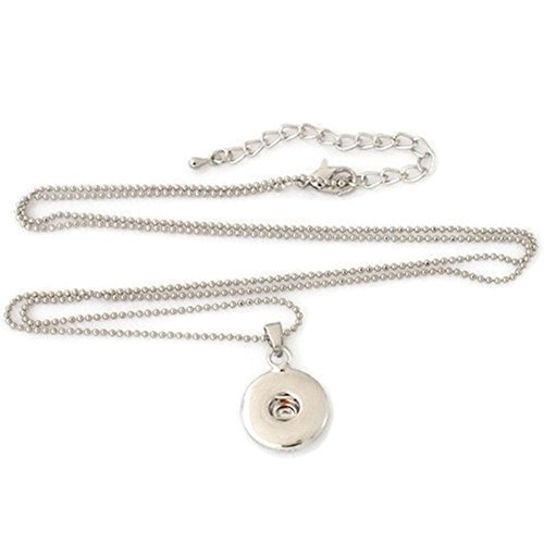 18mm Ball Necklace Chain (My Prime Gifts Snap Jewelry Pendant & Ball Chain Necklace Length 28-31 Holds 18-20mm Standard Snaps by)