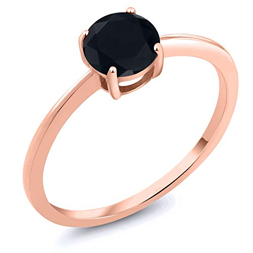 (Gem Stone King 10K Rose Gold 0.80 Ct Round Black Onyx Solitaire Engagement Ring (Size 7))