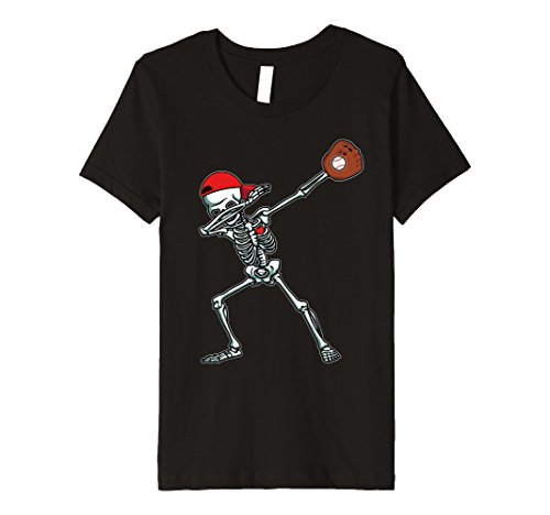 Baseball Player Costume Kids (Kids Dabbing Skeleton Baseball T-Shirt Dab Hip Hop Skull Gift 8 Black)