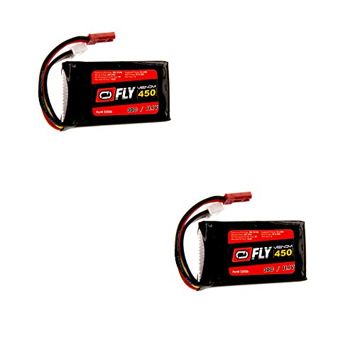 Venom Fly 30C 3S 450mAh 11.1V LiPo Battery with JST Plug x2 Pack Combo - Compare to E-flite EFLB4503SJ30 (450 Mah 3s Lipo Battery compare prices)