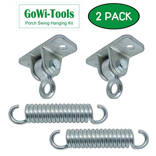 GoWi-Tools Porch Swing Hanging Kit Indoor & Outdoor, Up to 1400 lbs, (2) Heavy Duty Cast Iron Ceiling Mount, (2) 8″ Springs, Use ½ Bolts/Screw, for Hammock Chairs, Wooden Porch – Not Included Bolts