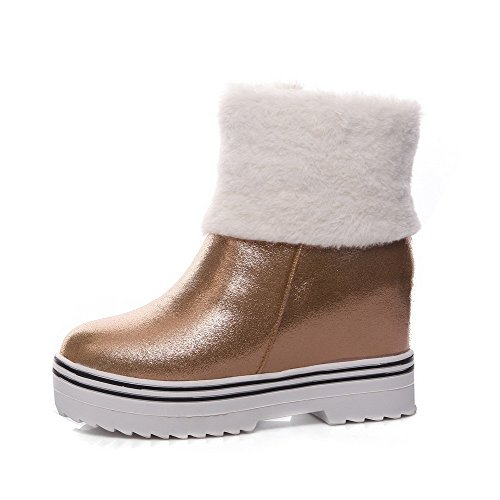 Allhqfashion Women's High-Heels Solid Round Closed Toe Soft Material Zipper Boots Gold zuElL0ZJ3